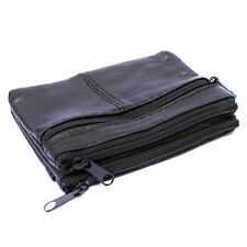 Mens & Ladies | SMALL Soft REAL Leather Coin Purse - Key Wallet | THREE Zips