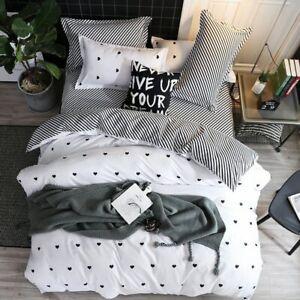 Fashion Simple Style Home Bedding Sets Bed Linen Duvet Cover Flat Sheet 4Pcs
