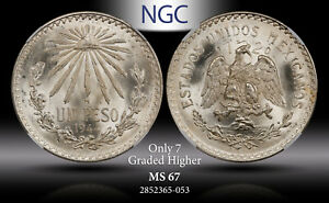 1944Mo MEXICO SILVER 1 PESO NGC MS67 ONLY 7 GRADED HIGHER