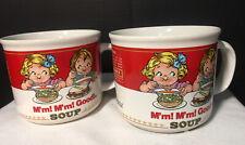 Set of 2 Vintage Campbell's Soup Mugs M'm M'm Good 1989  Westwood  Korea 14 Oz