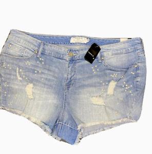 "Torrid Denim Shorts Jean 3.5"" Distressed Pearl Beaded Women Sz 22 NWT"
