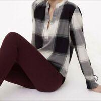 Loft Black White Silver Plaid V-Neck Long Sleeve Blouse Top Shirt Size Medium
