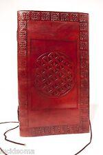 9x5 Handmade Leather Sketchbook Journal diary Celtic Merkaba Flower Life wicca