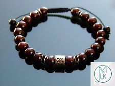 Aquarius Birthstone Bracelet Natural Garnet 7-8'' Macrame Healing Stone Chakra