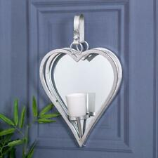 Silver Heart Mirrored Wall Mounted Sconce Candle Holder Metal Mirrored Chic
