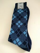 Vtg Bnwot 70s Mens Nylon Socks Diamond blue Made in England mod northern soul