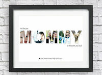 Personalised Bespoke MOMMY Collage Print Photos Christmas Mom Xmas Word Art