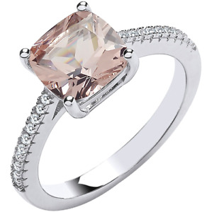 SILVER MORGANITE RING DIAMOND CUSHION CUT PINK Size O 925 STERLING SILVER NEW
