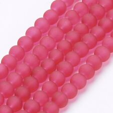 BD16 50 6mm Round Frosted Glass Beads in Red White and Blue