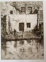 Jacques Beurdeley gravure eau forte etching Un Coin À Bruges Belgique