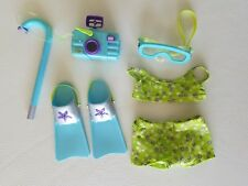AMERICAN GIRL KAILEY'S SNORKEL SET WITH FINS GOGGLES CAMERA, BATHING SUIT