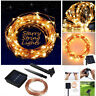 Solar powered 10M 100LED Copper Wire Outdoor String Fairy Light Xmas Party Decor