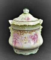 ANTIQUE HAND PAINTED NIPPON JAPAN COVERED CANDY DISH COOKIE JAR FLORAL