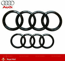 Audi Gloss Black Front Rear Grille Bonnet Badge Rings A1 A3 A4 RS3 273mm 193mm