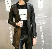Men's PU Leather One Button Trench Coat Lapel Collar Long Sleeve Casual Jackets