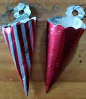 RARE Vintage FOIL CHRISTMAS or not TREAT HOLDER CONES Lot of 2