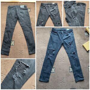 """mens denim co jeans black skinny ripped design waist 30 inside leg 29"""" used (33)"""