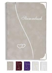 Stammbuch Hochzeit Varianten Samt Welle und Herzen versch. Farben Ringmechanik