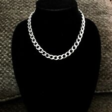 "Large Sterling Silver Link Chain Necklace 18"" Transcendent Italian 324 NEW N BOX"