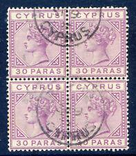 Cipro REGINA VITTORIA 1882-6 30pa DIE 2 Blocco 4 USATO (2017/06/12/#13)