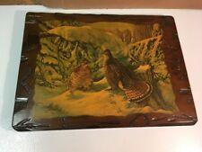 Vintage Wood Slab Grouse Wall Art Plaque Signed JK