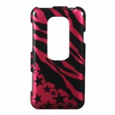 For Sprint HTC EVO 3D Protector HARD Case Snap on Phone Cover Pink Star Zebra