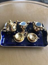 Limoges Miniature Tea Set. Gold With Cobalt Tray 9 Pieces
