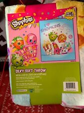 SHOPKINS GIRLS SLIKY SOFT THROW 40 X 50 INCHES  KIDS BLANKET CARTOON BEDDING
