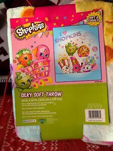 SHOPKINS GIRLS SLIKY SOFT THROW 40 X 50 INCHES  KIDS BLANKET CARTOON BEDDING