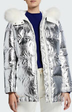 YVES SALOMON HOODED FUR COAT SILVER / WHITE / REFLECTIVE 34 MSRP$1,500