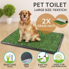 Indoor Pet Toilet Tray Puppy Training Portable Large Loo Pad With 2 Grass Mats