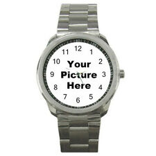 Custom Made Personalized Sport Metal Watch Your Photo Design Text Logo