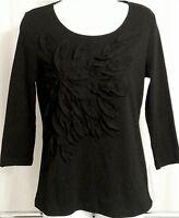 NWT $36 Mercer Street Studio Women's Black 3/4 Sleeve Top Blouse Size: S