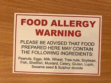 FOOD ALLERGY WARNING NOTICE STICKER PEANUT SHELLFISH CAFE RESTAURANT TAKEAWAY