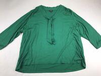 Talbots Woman XXL 2X Green The Neck Blouse Top 3/4 Sleeve V Neck Shirt