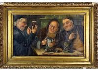 Antique 1898 Oil  Painting Artist Signed German Beer Garden Tavern Scene Framed