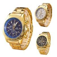 Fashion Men's Luxury Gold Stainless Steel Band Watch Analog Quartz Wrist Watches