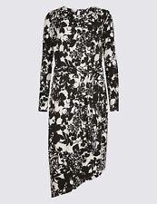 M&S Floral Print Cowl Neck Bodycon Midi Dress - Size 20 Black & White New