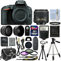 Nikon D5500 Digital SLR Camera Black + 3 Lens: 18-55mm VR Lens + 16GB Bundle