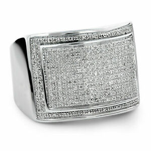 1.50 Ct Diamond Engagement Pinky Ring Men's 14K White Gold Over Round Pave Band