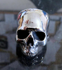 Large Solid Sterling Silver Anatomical Skull Ring Keith Richards Style 40 grams