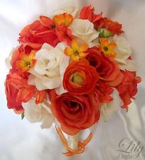 17 Piece Set Wedding Bridal Bouquets Silk Flower Round Bride ORANGE IVORY FALL