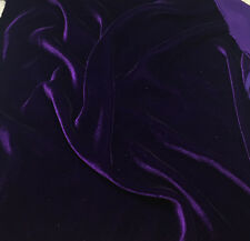 "Silk VELVET Fabric AUBERGINE PURPLE 18""x22"" remnant"
