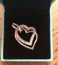 Stunning Double Heart Diamond Accents Sterling Silver 925 Pendant