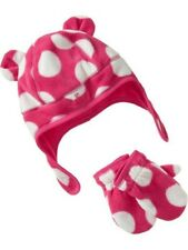 NWT Old Navy Baby Girl Fleece Hat & Mitten Set Pink Polka Dot size M (2T-3T)