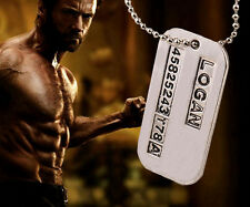 New X-Men Series Wolverine Pendant Necklace Logan Dog Tag ID Chain Brushed Steel