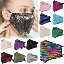 Fashion Sequins Bling Bling Glitter Washable Face Cover Mask Men Women