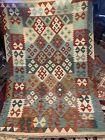 4X6 FT Handmade vintage Uzbek Maimana Vegetable Dye Natural Colors Wool Kellim