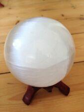 SELENITE SATIN SPAR 10CM CRYSTAL SPHERE BALL GEMSTONE HEALING SKRYING NEW AGE