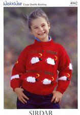 Sirdar DK Knitting Pattern #4042 Count Sheep Intarsia Sweater 1-10yrs